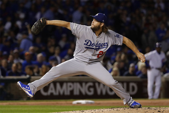 Los Angeles Dodgers starting pitcher Clayton Kershaw (22) throws during the  first inning of Game 5 of baseball s National League Championship Series  against ... 6a7db2869a1