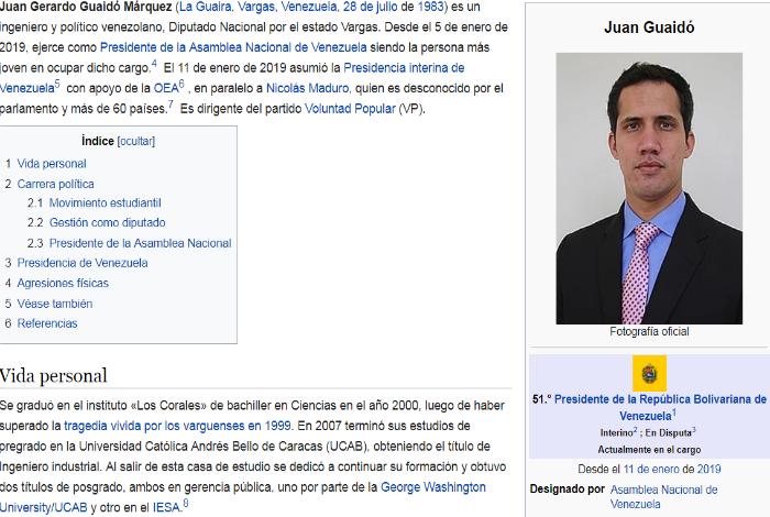 Wikipedia Actualiza Su Página Y Posiciona A Juan Guaidó Como El